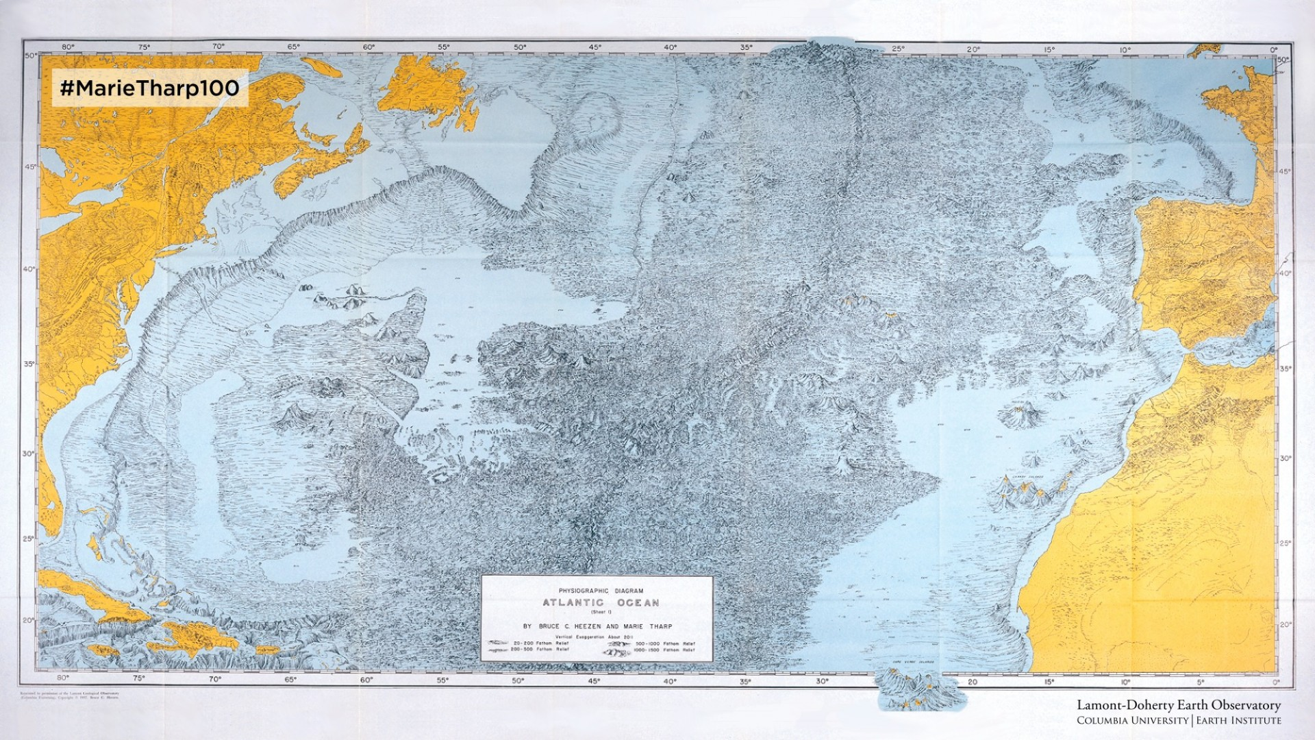 Physiographic Diagram of the North Atlantic Ocean (1959) by Heezen & Tharp